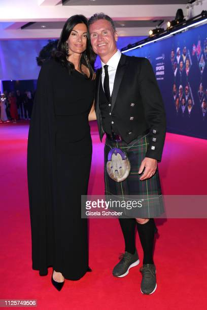 David Coulthard and his wife Karen Minierduring the Laureus World Sports Awards 2019 at Monte Carlo Sporting Club on February 18 2019 in Monte Carlo...