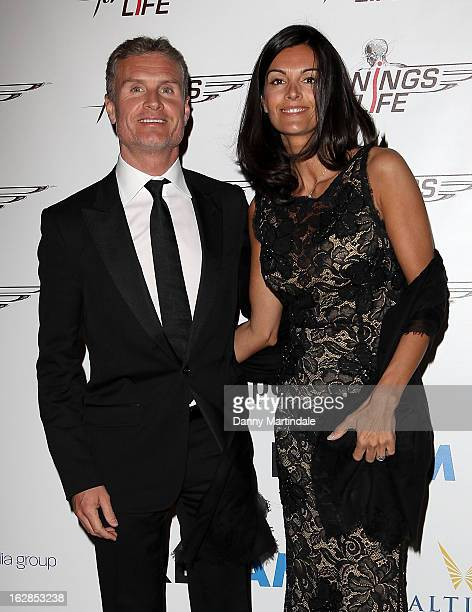 David Coulthard and Karen Minier attend a dinner and ball hosted by The Cord Club in aid of Wings For Life at One Marylebone on February 28, 2013 in...