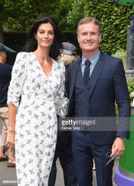 David Coulthard and Karen Minier attend day nine of the Wimbledon Tennis Championships at the All England Lawn Tennis and Croquet Club on July 11...