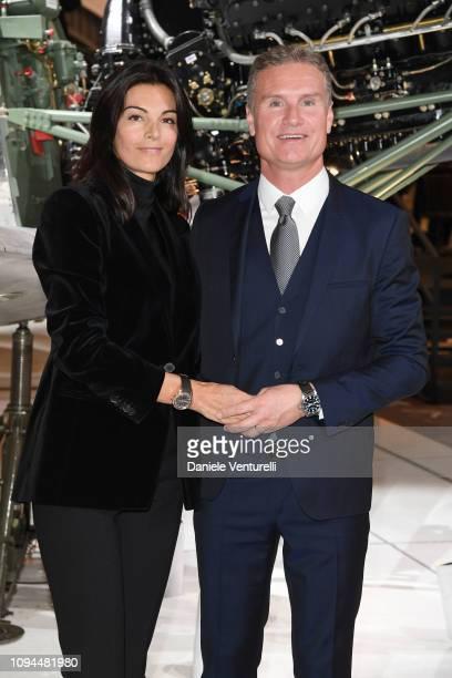 David Coulthard and Karen Minier is seen at IWC Schaffhausen at SIHH 2019 on January 15 2019 in Geneva Switzerland
