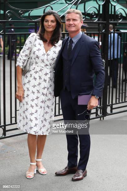 David Coulthard and Karen Minier seen arriving on day nine of the Wimbledon Lawn Tennis Championships at All England Lawn Tennis and Croquet Club on...