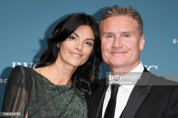 David Coulthard and Karen Minier walk the red carpet for IWC Schaffhausen at SIHH 2019 on January 15, 2019 in Geneva, Switzerland.