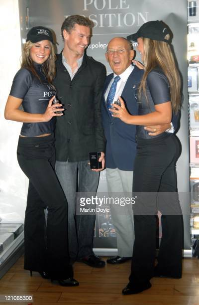 "David Coulthard and Stirling Moss with models during Launch of ""Pole Position"" - The New Fragrance for Men at Superdrug Oxford Street in London,..."