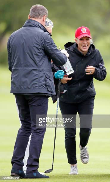 David Coulthard and Zara Phillips attend the 5th edition of the 'ISPS Handa Mike Tindall Celebrity Golf Classic' at The Belfry on May 19 2017 in...