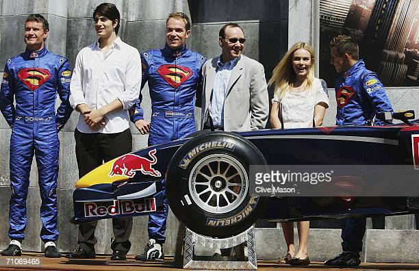 David Coulthard Brandon Routh Robert Doornbos Kevin Spacey Kate Bosworth and Christian Klien attend a Red Bull Racing and Superman Returns event...