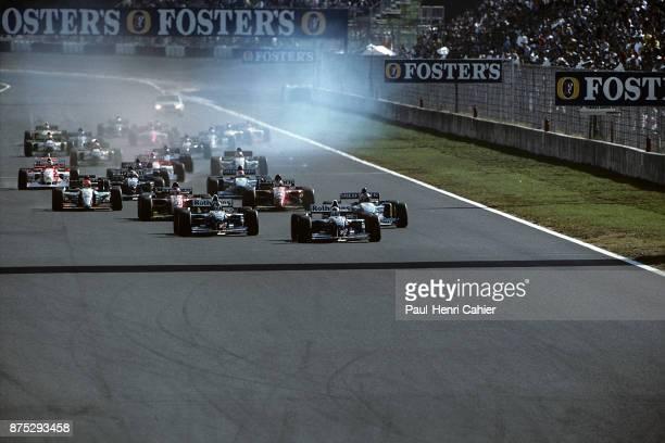 David Coulthard Damon Hill Michael Schumacher Jean Alesi Gerhard Berger WilliamsRenault FW17B BenettonRenault B195 Ferrari 412T2 Grand Prix of...