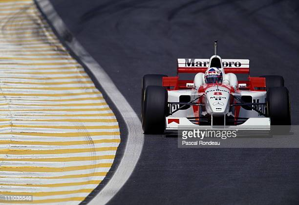 David Coulthard drives the Marlboro McLaren Mercedes McLaren MP4-11 Mercedes 3.0 V10 during the Brazilian Grand Prix on 31st March 1996 at the...