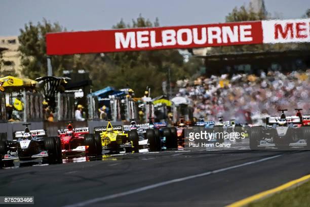 David Coulthard Michael Schumacher Jarno Trulli Mika Hakkinen McLarenMercedes MP4/15 Ferrari F12000 JordanMugenHonda EJ10 Grand Prix of Australia...