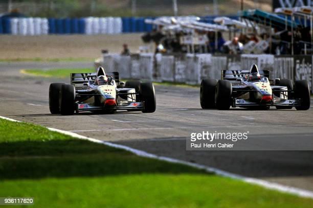 David Coulthard Mika Hakkinen McLarenMercedes MP4/12 Grand Prix of Europe Circuito de Jerez 26 October 1997 Mika Hakkinen in a McLaren takes his...