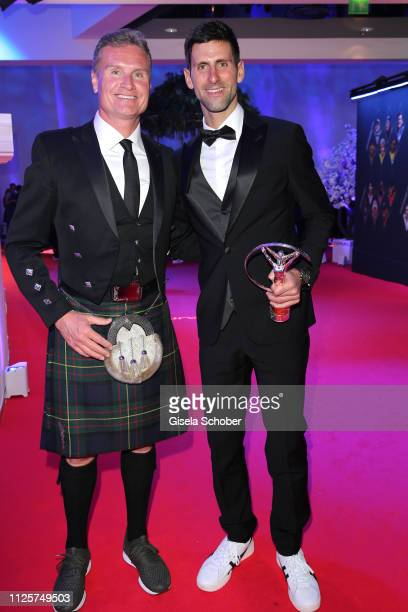 David Coulthard Novak Djokovic wiht award during the Laureus World Sports Awards 2019 at Monte Carlo Sporting Club on February 18 2019 in Monte Carlo...