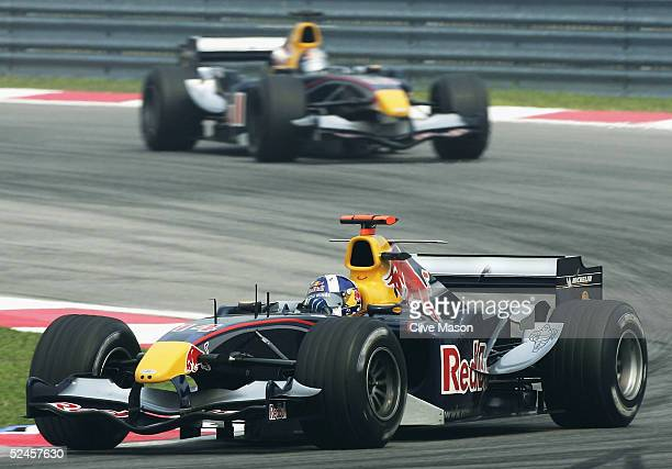 David Coulthard of Great Britain and Red Bull Racing in action during the Malaysian Formula One Grand Prix at Sepang Circuit on March 20 2005 in...