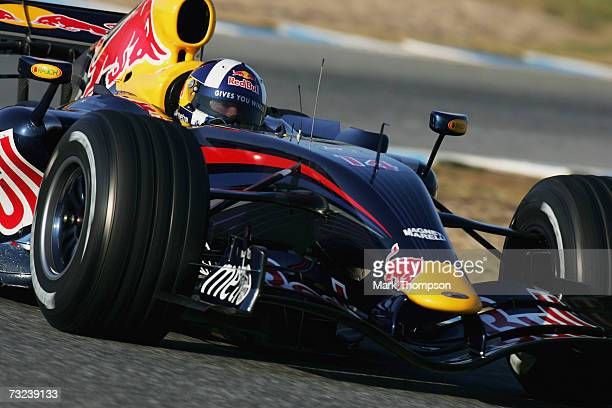 David Coulthard of Great Britain and Red Bull Racing in action during Formula One testing at the Circuit De Jerez on February 7 2007 in Jerez de la...