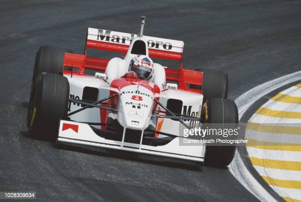 David Coulthard of Great Britain drives the Marlboro McLaren Mercedes McLaren MP4/11B Mercedes V10 during the Formula One Brazilian Grand Prix on 31...