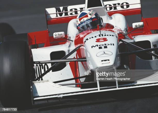 David Coulthard of Great Britain drives the Marlboro McLaren Mercedes McLaren MP4/11B Mercedes V10 during practice for the Formula One Belgian Grand...