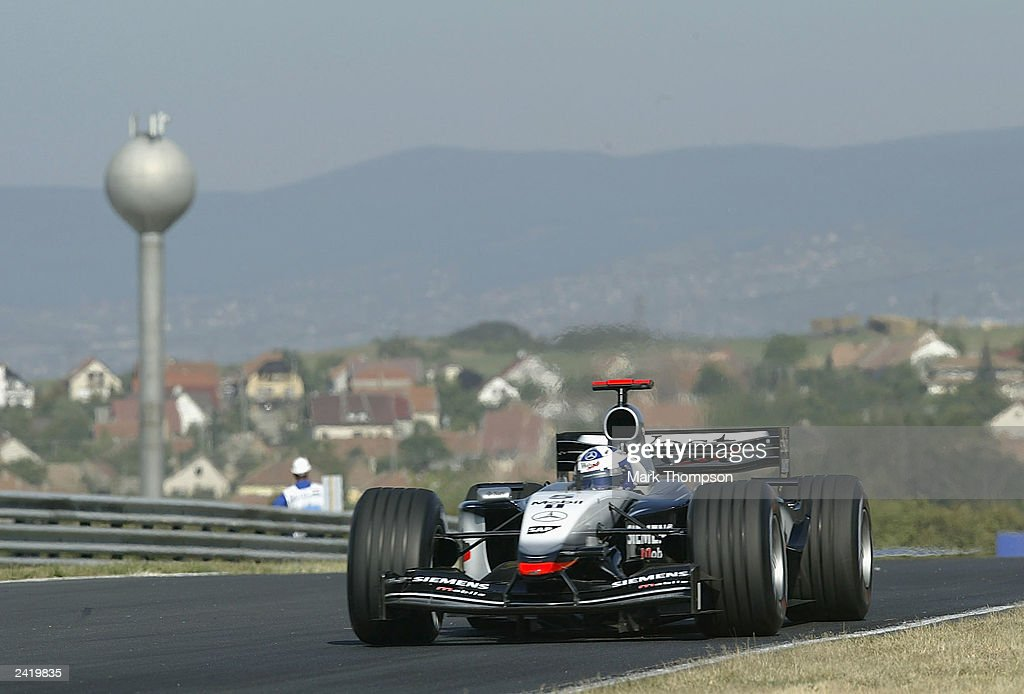 David Coulthard of Scotland and McLaren in action during second practice for the Formula One Hungarian Grand Prix at the Hungaroring on August 23, 2003 in Budapest, Hungary.