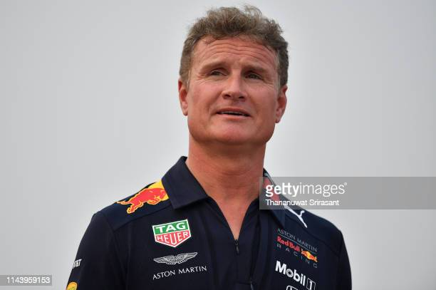 David Coulthard of Scotland looks during the Red Bull Racing show run on April 20, 2019 in Hanoi, Vietnam.