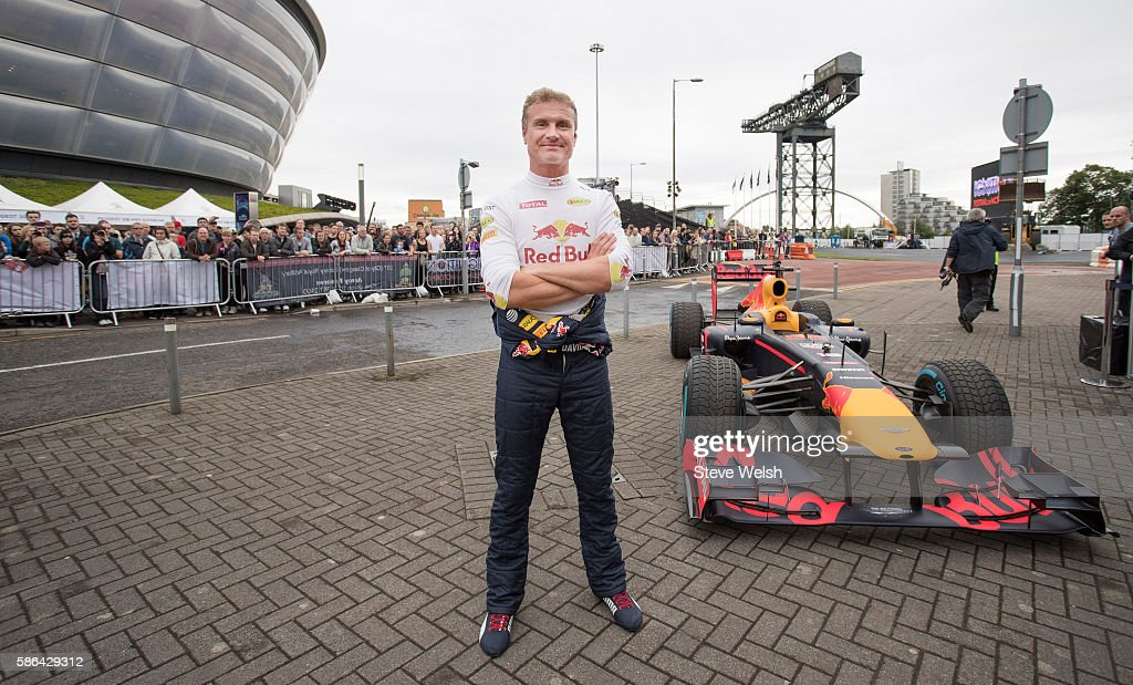 David Coulthard of Scotland takes the Red Bull Racing RB7 out for a demonstration run at The Ignition Festival of Motoring at SECC on August 6, 2016 in Glasgow, Scotland.
