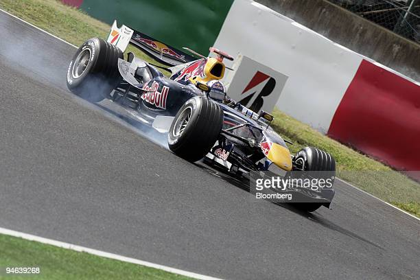 David Coulthard of Team Red Bull Racing makes a hard break during the first practice day of the Formula 1 Japanese Grand Prix in Suzuka Japan on...
