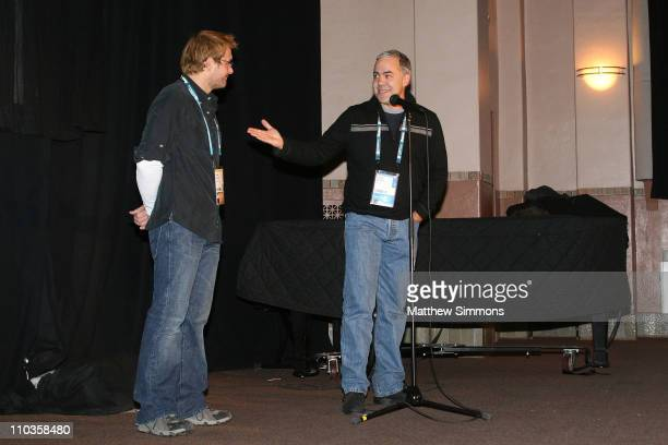 David Courier and director Carlos Brooks attends a screening of Quid Pro Quo at the Library Theatre during the 2008 Sundance Film Festival on January...