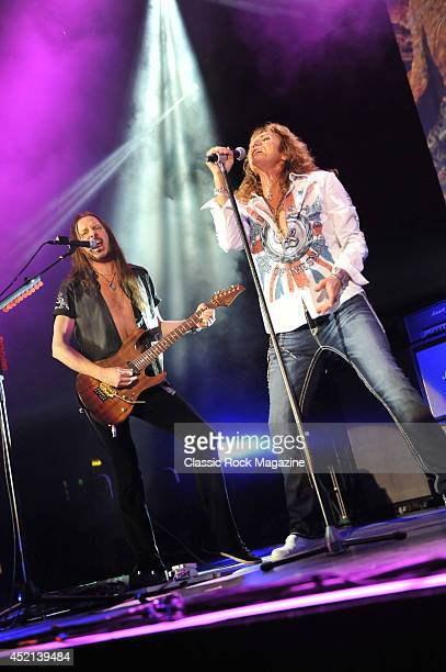 David Coverdale and Reb Beach of British hard rock group Whitesnake performing live on stage at Wembley Arena in London on May 29 2013