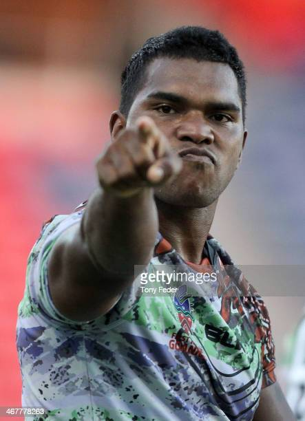 David Crampton of the Goannas celebrates a try during the NRL trial match between the Newcastle Knights and the First Nations Goannas at Hunter...