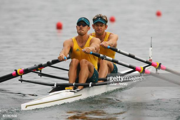 David Crawshay and Scott Brennan of Australia compete in the Men's Double Sculls Semifinal race at the Shunyi Olympic Rowing-Canoeing Park during Day...