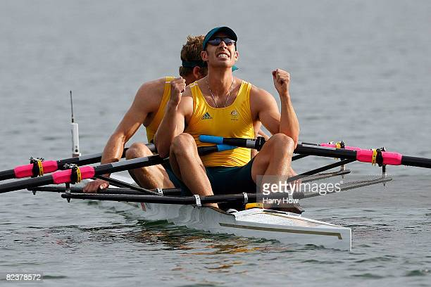 David Crawshay and Scott Brennan of Australia reacts after taking gold in the men's double sculls final at the Shunyi Olympic RowingCanoeing Park on...