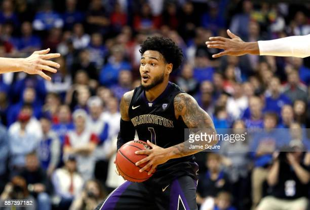 David Crisp of the Washington Huskies controls the ball during the game against the Kansas Jayhawks at the Sprint Center on December 6 2017 in Kansas...