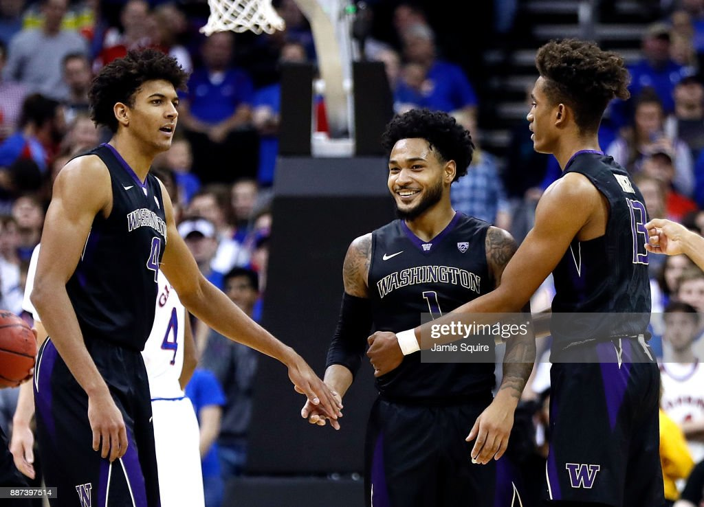 David Crisp #1 of the Washington Huskies smiles after being called for a technical foul during the game against the Kansas Jayhawks at the Sprint Center on December 6, 2017 in Kansas City, Missouri.