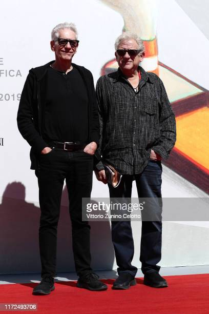 David Cronenberg and Jeremy Thomas walk the red carpet ahead of the Crash screening during the 76th Venice Film Festival at Sala Giardino on...