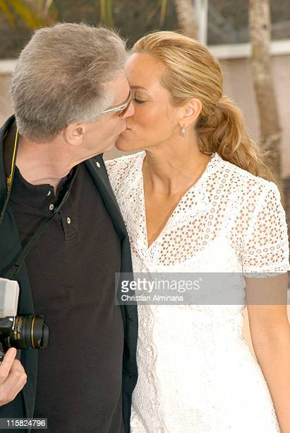 David Cronenberg and Maria Bello during 2005 Cannes Film Festival History of Violence Photocall in Cannes France