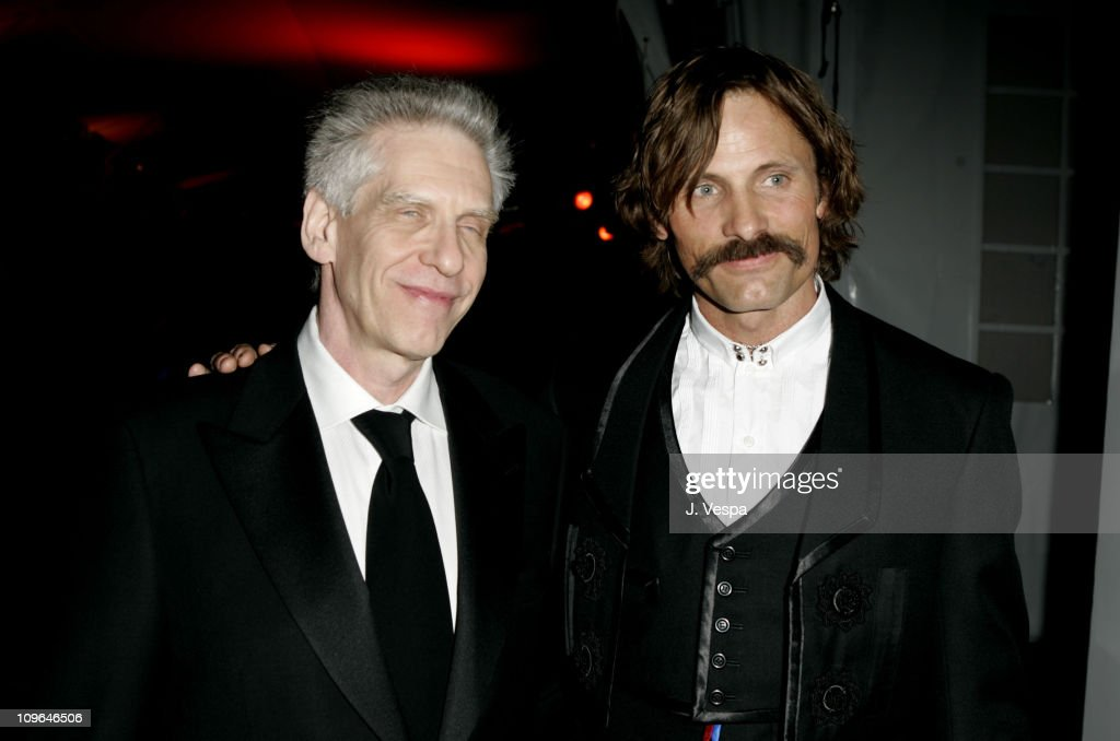 David Cronenberg and Viggo Mortensen during 2005 Cannes Film Festival - 'A History of Violence' Party at Majestic Beach in Cannes, France.