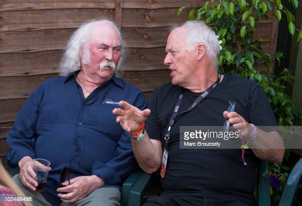 David Crosby and David Gilmour chat backstage on day 3 of Hard Rock Calling in Hyde Park on June 27 2010 in London England