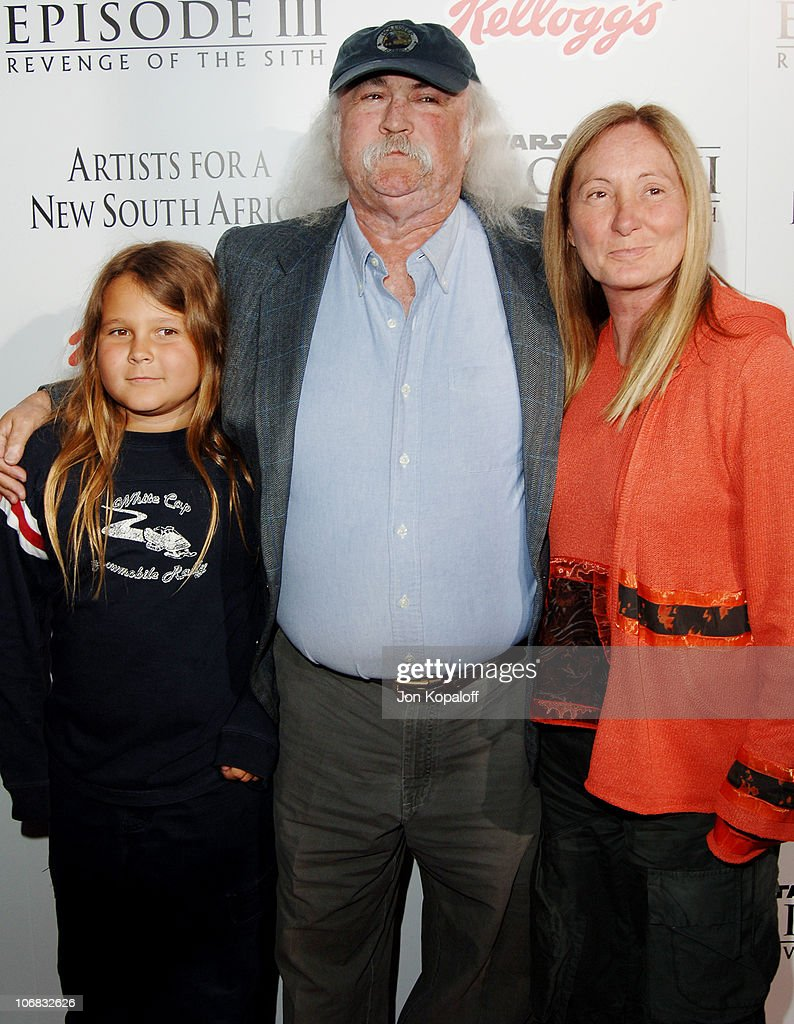 David Crosby and family during 'Star Wars: Episode III, Revenge of The Sith' Premiere to Benefit Artists for a New South Africa Charity - Arrivals at Mann Village Theater in Westwood, California, United States.