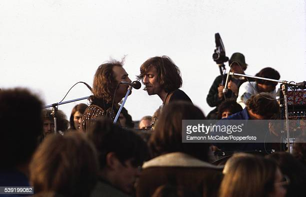 David Crosby and Graham Nash perform with Crosby Stills Nash and Young at the Altamont Speedway Free Festival California United States 6th December...