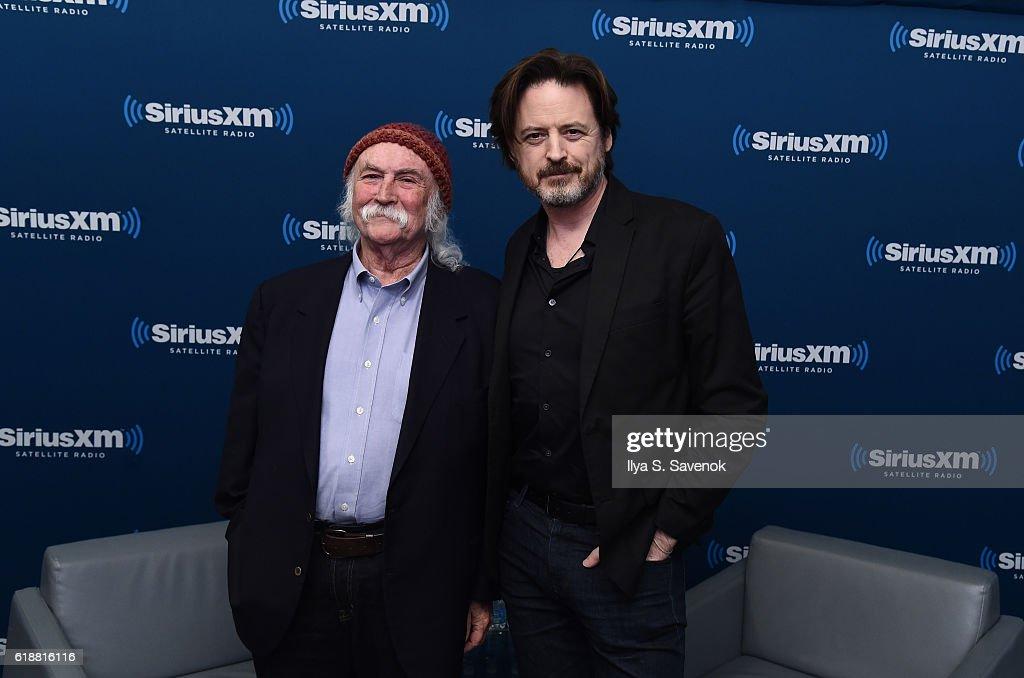 David Crosby and John Fugelsang visit the SiriusXM studios for the 'John Fugelsang Interviews David Crosby' Event at SiriusXM Studios on October 28, 2016 in New York City.