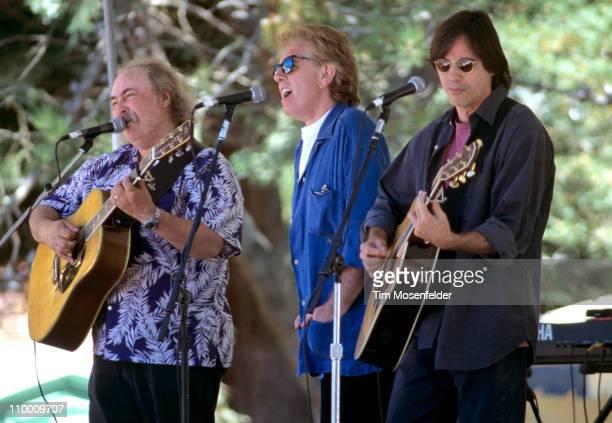 David Crosby Graham Nash and Jackson Browne perform as part of Hiroshima Memorial Concert at San Lorenzo Park on August 5 1995 in Santa Cruz...