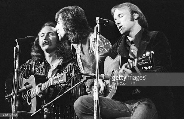 David Crosby Graham Nash and Stephen Stills of Crosby Stills and Nash perform in concert at Olympia Stadium on June 12 1970 in Detroit Michigan