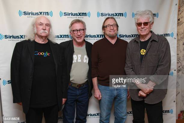 David Crosby host Earle Bailey Stephen Stills and Graham Nash attend the SiriusXM Crosby Stills And Nash Town Hall Live On Classic Vinyl at SiriusXM...