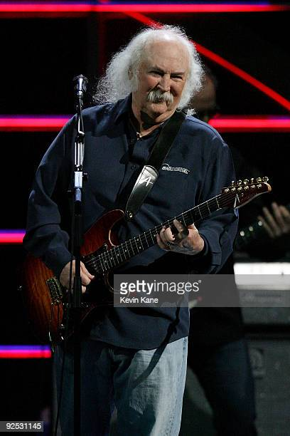 David Crosby of Crosby Stills and Nash performs onstage at the 25th Anniversary Rock Roll Hall of Fame Concert at Madison Square Garden on October 29...