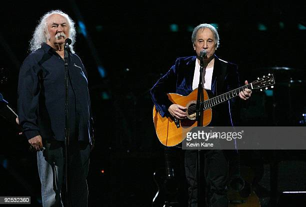 David Crosby of Crosby Stills and Nash with Paul Simon perform onstage at the 25th Anniversary Rock Roll Hall of Fame Concert at Madison Square...