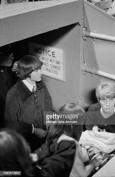 David Crosby of rock group The Byrds backstage at Soundblast '66 a music concert at the Yankee Stadium in New York City 10th June 1966