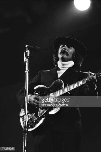 David Crosby of The Byrds performs on stage with The Buffalo Springfield at the Monterey Pop Festival on June 18 1967 in Monterey California