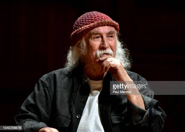 David Crosby speaks at Harvard University's Sanders Theatre in a conversation with Harvard students titled 'Gotta Get Down To It Conversations With...