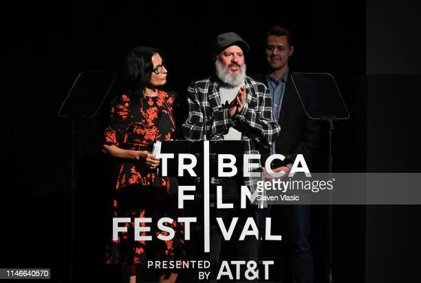 David Cross and Kathrine Narducci speak onstage at Awards Night 2019 Tribeca Film Festival at BMCC Tribeca PAC on May 02 2019 in New York City