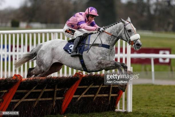 David Crosse riding Kilfilum Cross clear the last to win The ICB Waterproofing Novices' Hurdle Race at Chepstow racecourse on March 22 2018 in...