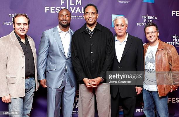 David Cypkin NFL player Bart Scott former NFL player Reggie Wilkes Ed Butowski and director Billy Corben attend the Broke Premiere during the 2012...