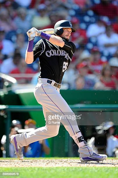 David Dahl of the Colorado Rockies bats against the Washington Nationals at Nationals Park on August 28 2016 in Washington DC