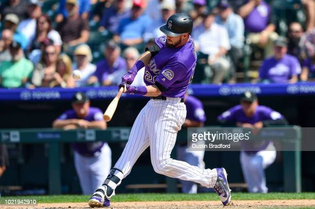 David Dahl of the Colorado Rockies hits a fifthinning solo home run against the San Diego Padres at Coors Field on August 23 2018 in Denver Colorado