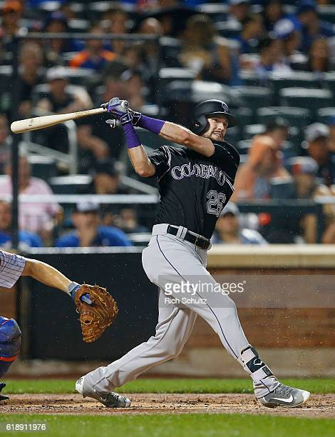 David Dahl of the Colorado Rockies in action against the New York Mets during a game at Citi Field on July 30 2016 in the Flushing neighborhood of...